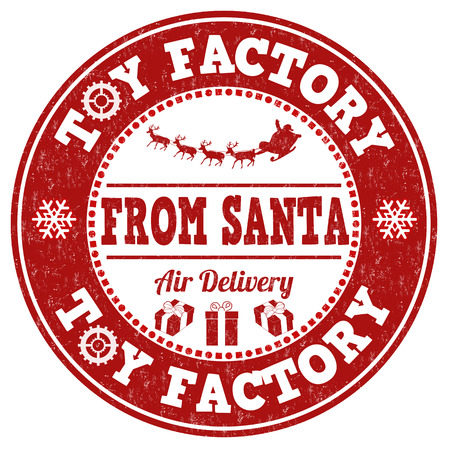 christmas mail: Toy factory from Santa grunge rubber stamp on white background, vector illustration