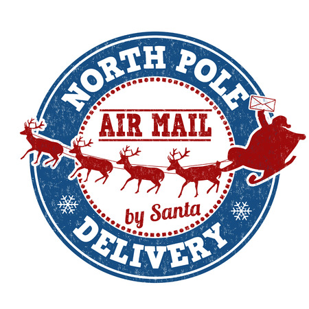North Pole delivery grunge rubber stamp on white background, vector illustration Imagens - 34144403