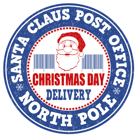 post office: Santa Claus post office grunge rubber stamp on white background, vector illustration