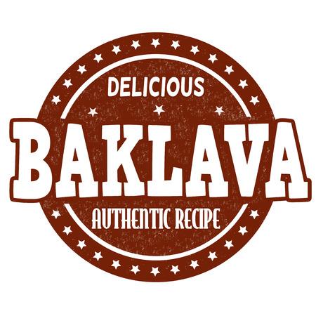 Baklava grunge rubber stamp on white background, vector illustration Vector