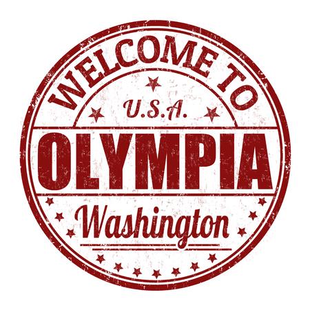 timbre voyage: Bienvenue à Olympia tampon en caoutchouc grunge sur fond blanc Illustration
