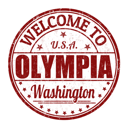 best travel destinations: Welcome to Olympia grunge rubber stamp on white background