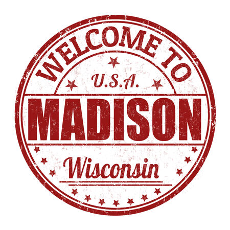 madison: Welcome to Madison grunge rubber stamp on white background
