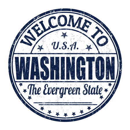 Welcome to Washington grunge rubber stamp on white background