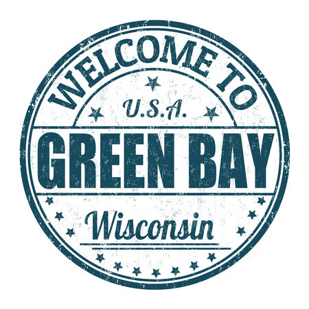 state of wisconsin: Welcome to Green Bay grunge rubber stamp on white background Illustration