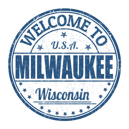 visit us: Welcome to Milwaukee grunge rubber stamp on white background