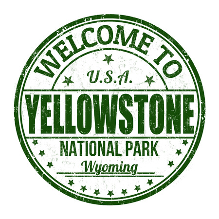 visit us: Welcome to Yellowstone grunge rubber stamp on white background Illustration