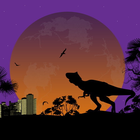 tonight: Silhouette of Tyrannosaurus T-Rex in front a city scape at night