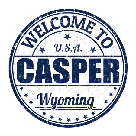 Welcome to Casper grunge rubber stamp on white background