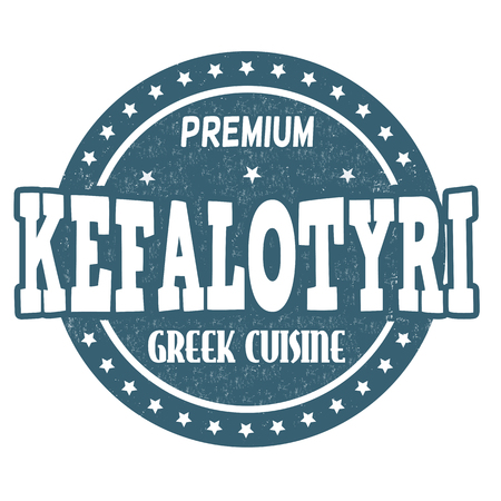 goat cheese: Kefalotyri (traditional greek cheese) grunge rubber stamp on white background, vector illustration