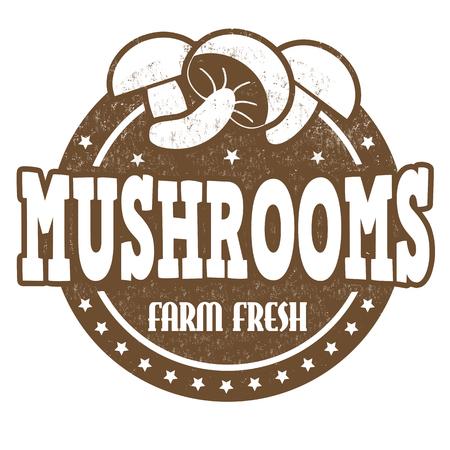 inspected: Mushrooms grunge rubber stamp or label on white, vector illustration