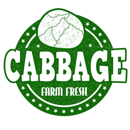 Cabbage grunge rubber stamp or label on white, vector illustration