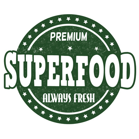 Superfood grunge rubber stamp on white background, vector illustration Illustration