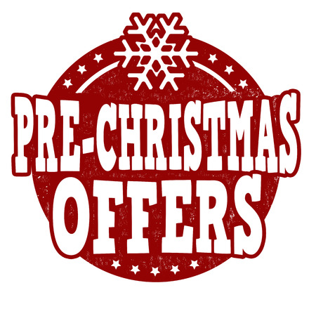 pre: Pre Christmas offers grunge rubber stamp on white background, vector illustration Illustration