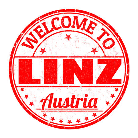best travel destinations: Welcome to Linz, Austria grunge rubber stamp on white background, vector illustration