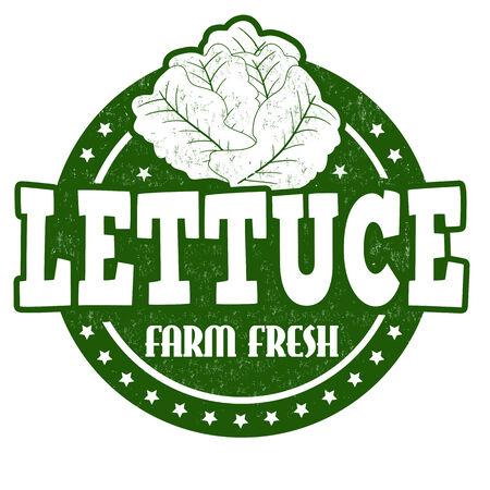 inspected: Lettuce grunge rubber stamp or label on white, vector illustration Illustration