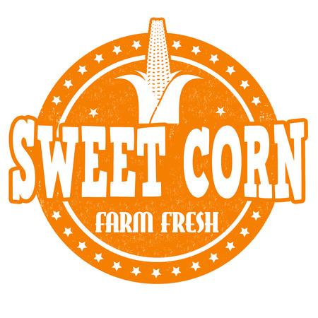 sweet corn: Sweet corn grunge rubber stamp or label on white, vector illustration
