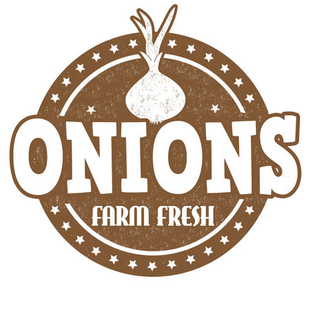 inspected: Onions grunge rubber stamp or label on white, vector illustration