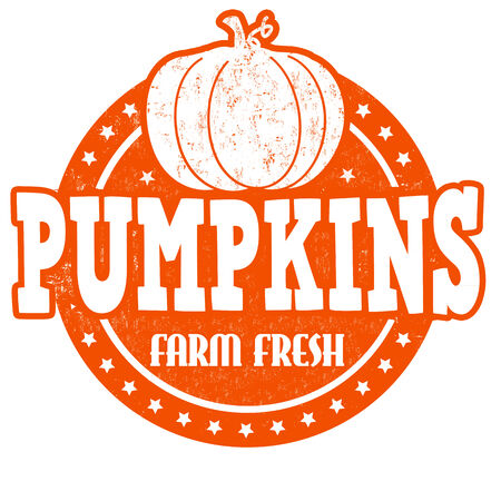 inspected: Pumpkins grunge rubber stamp or label on white, vector illustration