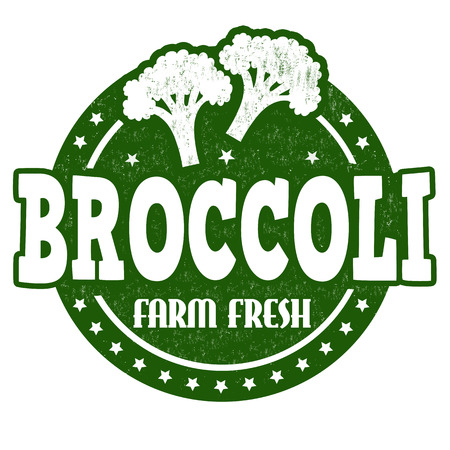inspected: Broccoli grunge rubber stamp or label on white, vector illustration