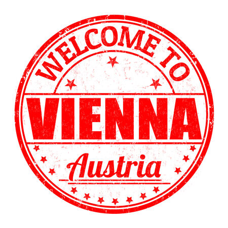 Welcome to Vienna, Austria grunge rubber stamp on white background, vector illustration