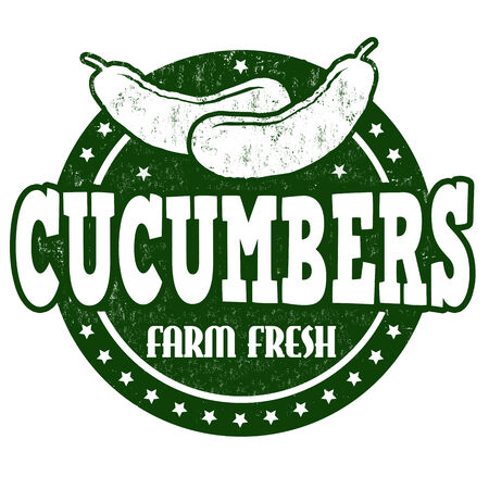 inspected: Cucumbers grunge rubber stamp or label on white, vector illustration