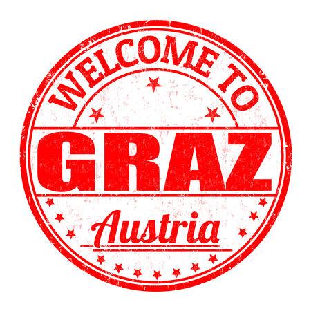 best travel destinations: Welcome to Graz, Austria grunge rubber stamp on white background, vector illustration Illustration