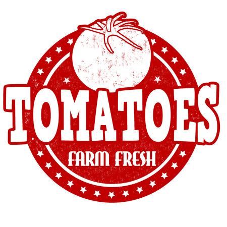 inspected: Tomatoes grunge rubber stamp or label on white, vector illustration Illustration