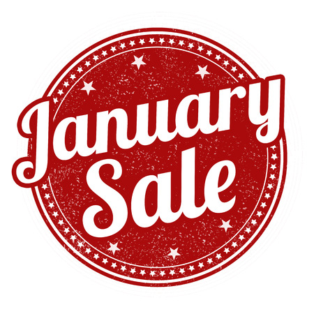 enero: Descuentos en enero grunge sello de goma en blanco, ilustración vectorial