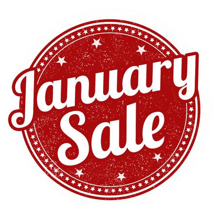 January sale grunge rubber stamp on white, vector illustration