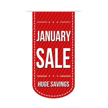 January sale banner design over a white background, vector illustration