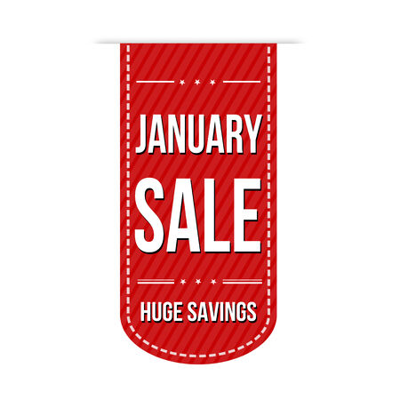 January sale banner design over a white background, vector illustration