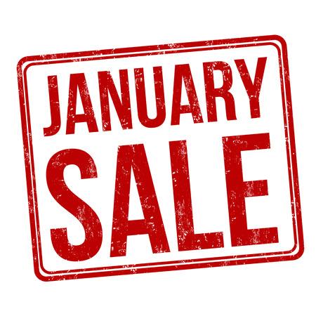 Januari verkoop grunge rubber stempel op wit, vector illustratie Stock Illustratie