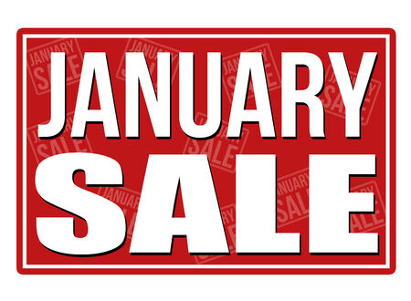 January sale sign, vector illustration Vettoriali