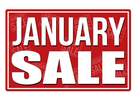January sale sign, vector illustration Stock Illustratie