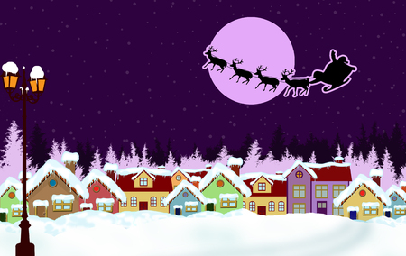 lila: Country rural snowy in the Christmas night with Santas sleigh, vector illustration