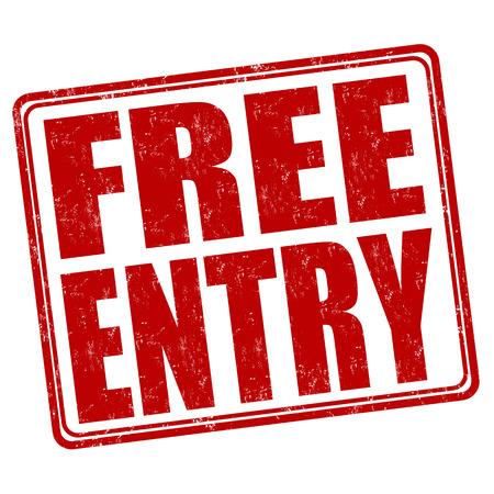 Free entry grunge rubber stamp on white background, vector illustration Illustration