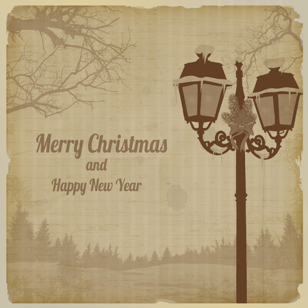 lampost: Christmas evening landscape with vintage lamppost retro poster, vector illustration