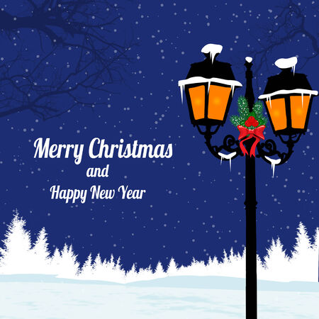 Christmas evening landscape with  lamppost on blue night, vector illustration Vector