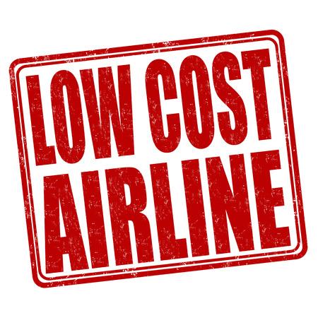 白い背景、ベクトル図の上の低コスト航空会社グランジ ゴム印