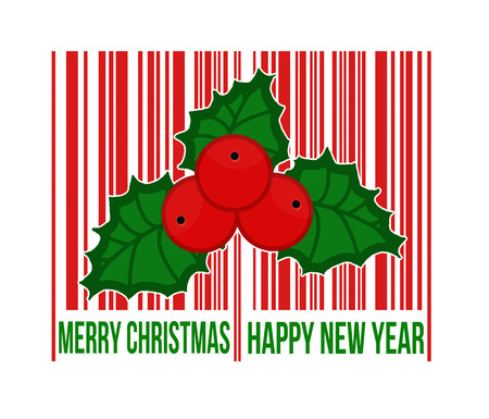 bar code scanner: Merry Christmas barcode with holly berry inside on white background, vector illustration Illustration
