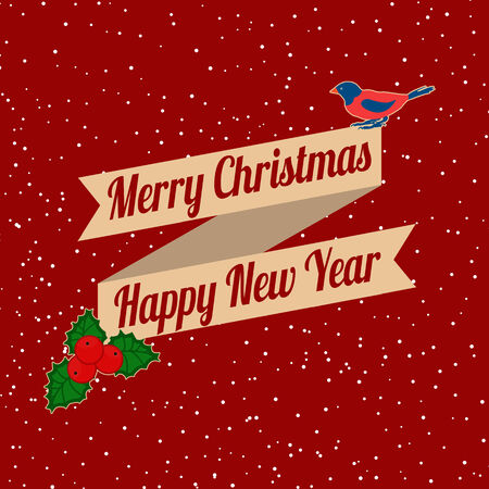 leafs: Christmas background with bird and holly leafs on red, vector illustration