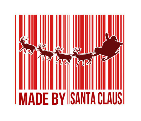 Made by Santa Claus barcode with Santa sleigh inside on white background, vector illustration Vector