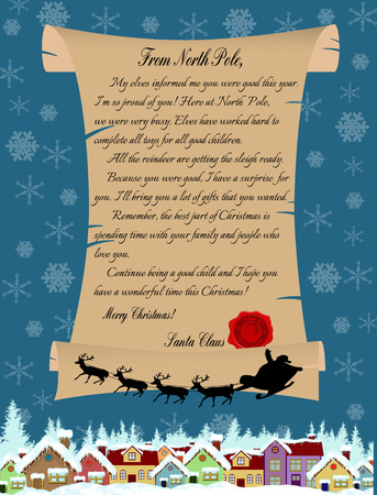 christmas greeting card: Vector illustration of a letter from Santa Claus on blue