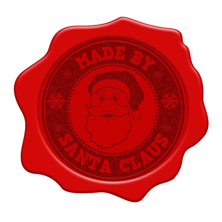 Made by Santa Claus red wax seal isolated on white background, vector illustration