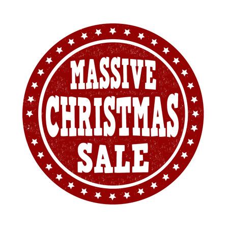 massive: Massive Christmas sale grunge rubber stamp on white background, vector illustration