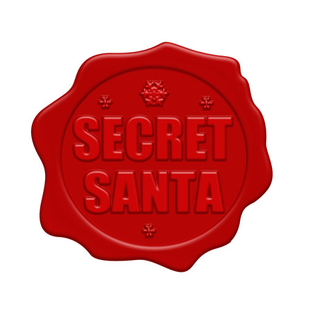 Secret Santa red wax seal isolated on white background, vector illustration
