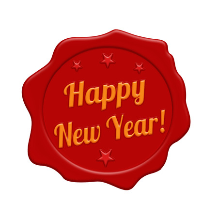 Happy new year red wax seal isolated on white background, vector illustration Illustration