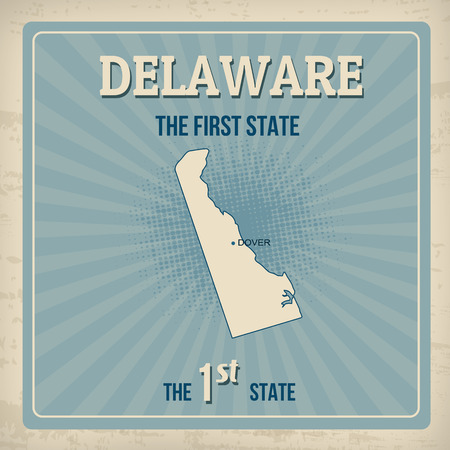 dover: Delaware travel vintage grunge poster, vector illustration