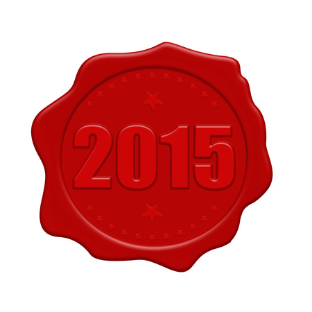Happy new year 2015 red wax seal isolated on white background, vector illustration Illustration